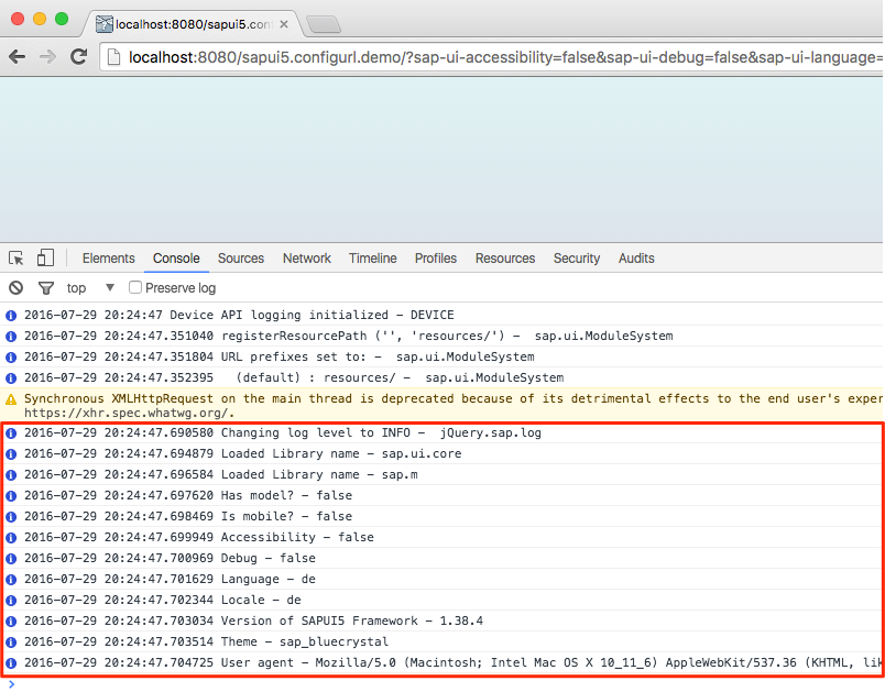 Configuration of the SAPUI5 Runtime using URL parameters
