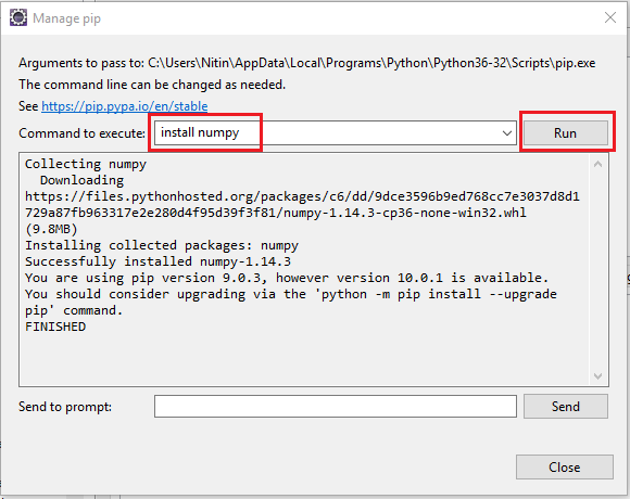 How to install a Python package in Eclipse using PIP