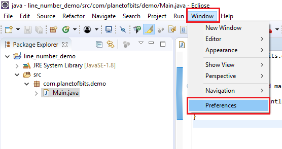 How to show line numbers in Eclipse